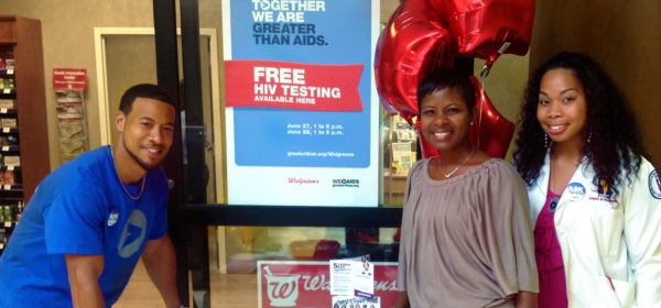 volunteeers at greater than AIDS and Walreens free HIV Testing event